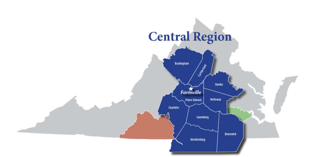 map of central region