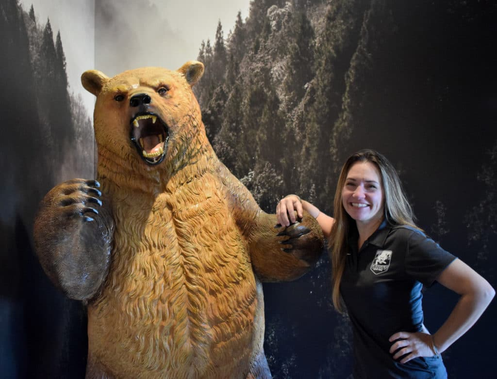 Christie Wall and grizzly bear
